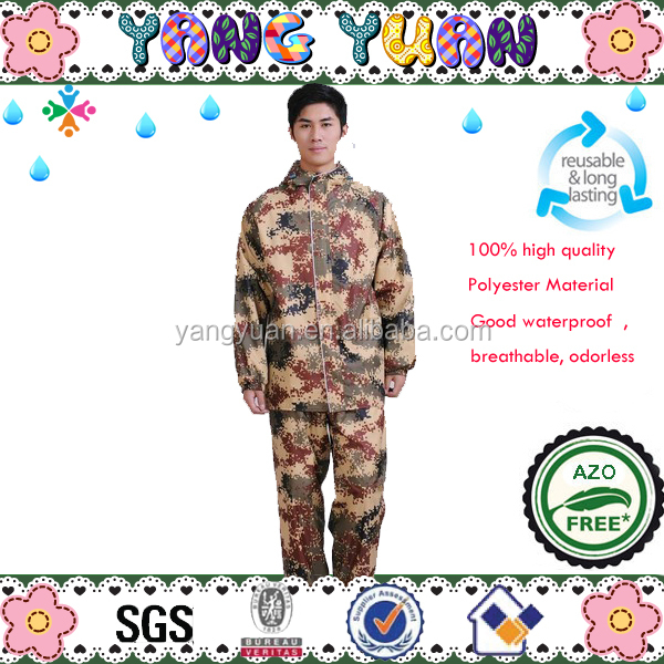 Blue Camouflage Raincoats With Size
