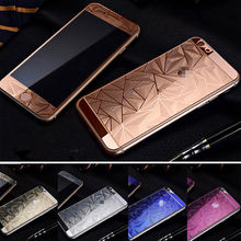 Fancy Color Diamond Screen Protector for iPhone 6 7 8 plus,Premium Front And Back Tempered Glass Screen Protector With Design