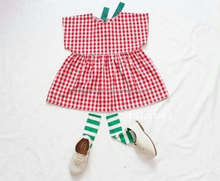 Frock Design For Baby Girl Kids Clothing Wholesale Little Ladies Plaid Cotton