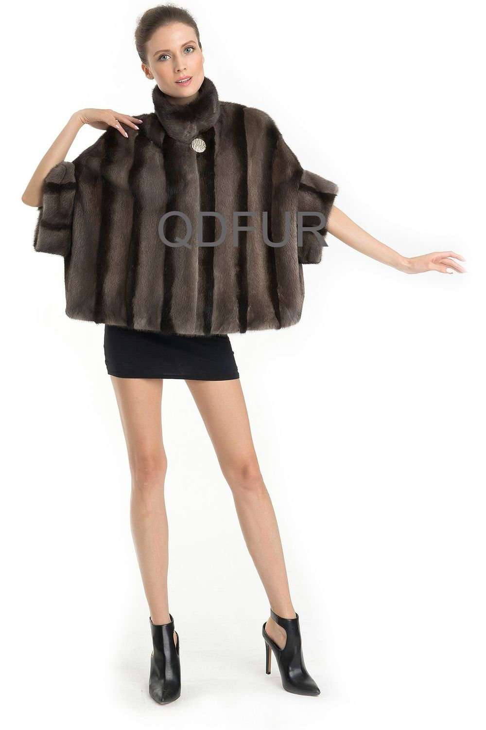 QD70768 Plus Size Lady Winter Genuine Natural Chinese Mink Jacket