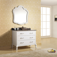 Single Sink Floor Stand Wooden Vanity with Bath Mirror