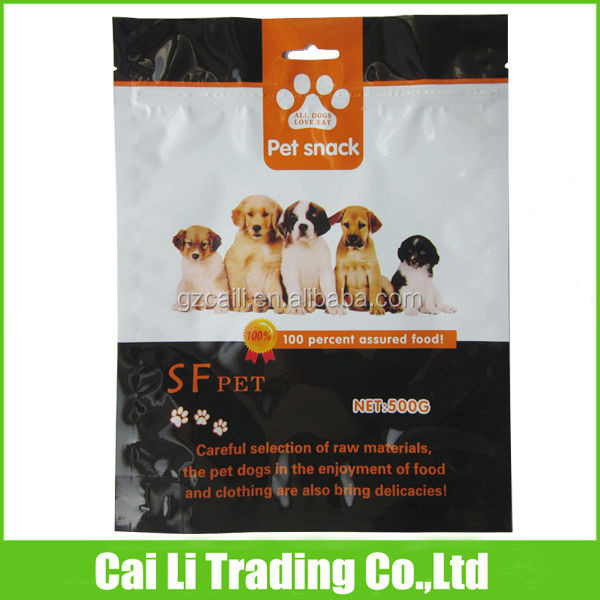 pet food packaging clear window waterproof resealable pouch