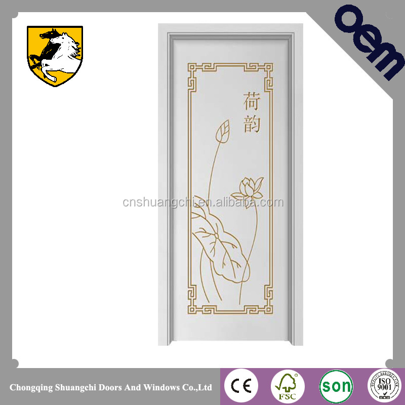 China classical design craving lotus flower flush door
