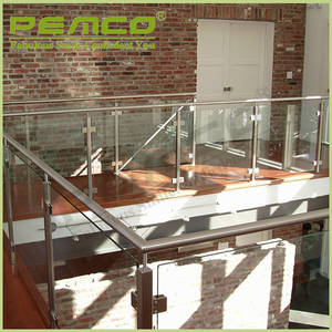 Factory price customized design stainless steel handrail indoor Tempered glass balcony railing
