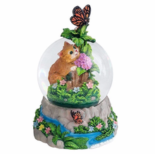 custom resin animal theme snow globes cat butterflies water globes