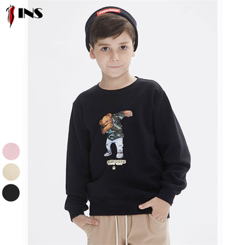 Children sweater custom round neck cartoon skate bear printing boy sweater manufacturers wholesale