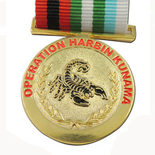 Design your own custom metal crafts gold award metal medal with ribbon