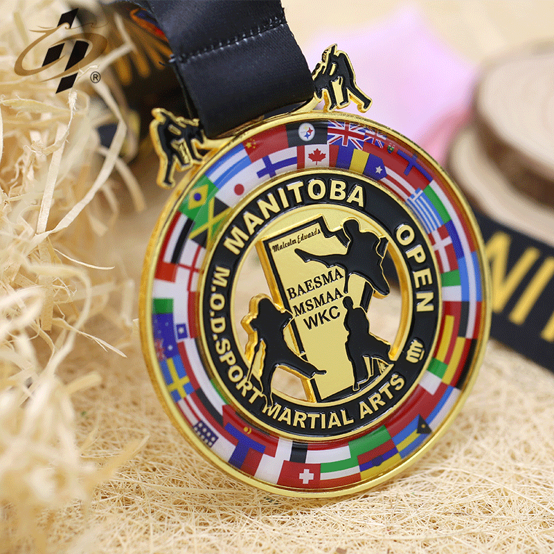 Custom zinc alloy gold sports karate challenge martial arts metal medal