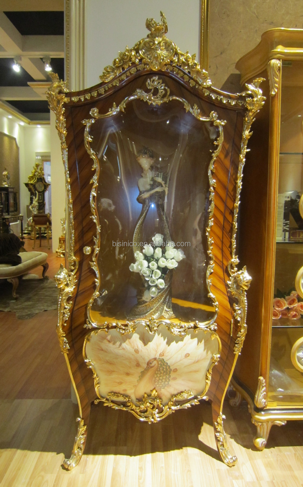 Luxury French Louis XV 24K Gold Plated Display Cabinet/European Elegant Peacock Decorative Wine Cabinet/ Retro Gilt Vitrine
