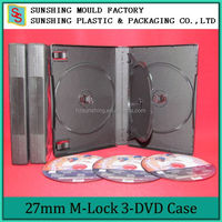 Black Promotion Sales 27MM 3 Disc M-lock Plastic DVD Case With One Tray
