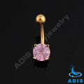 Gold plated belly piercings jewelry stainless steel cz stone navel rings