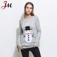 New arrival christmas ugly sweater over hip acrylic knitted snowman christmas sweater for women