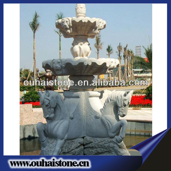 Special Granite Stone Fountain White Water Fountain With Horse Statues