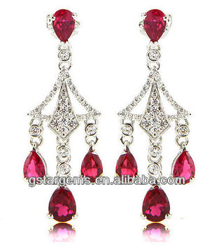 2013 jewelry wholesale 925 Sterling Silver Created Ruby Earring Gemstone