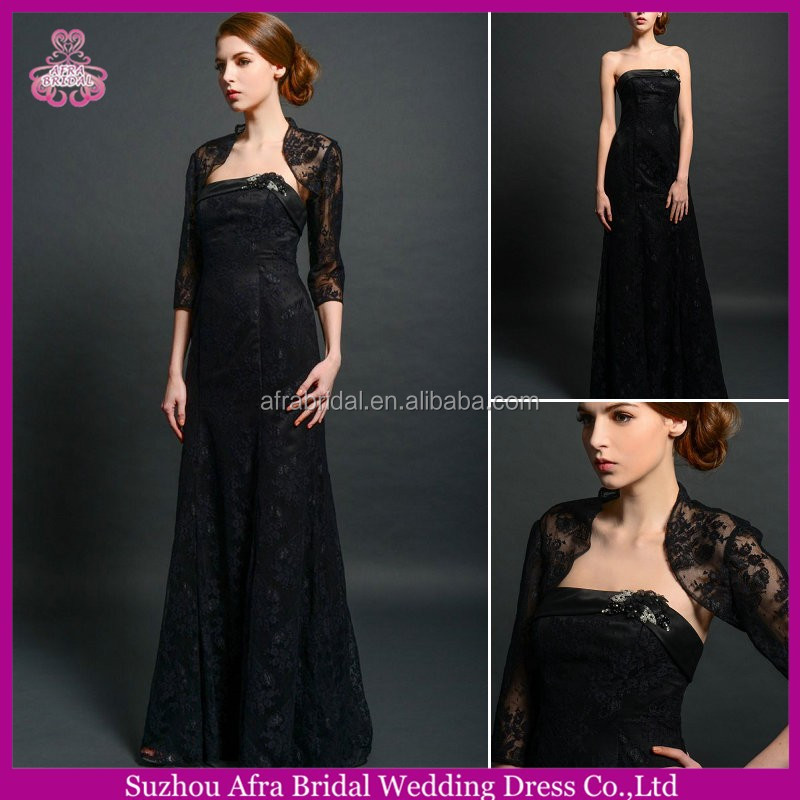 SD1848 long sleeve lace jacket black lace mother of the bride dress with sleeve