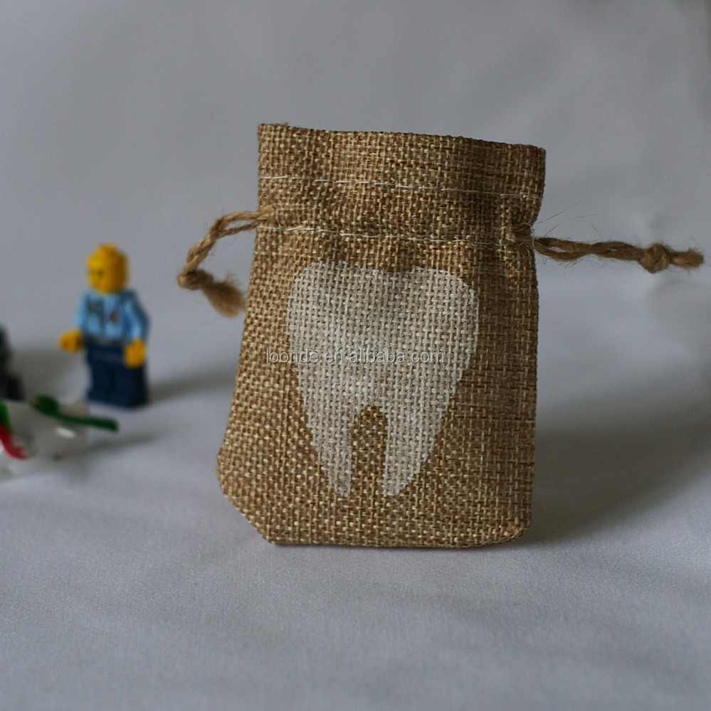 Perfect burlap mini tooth fairy sack bag or tooth fairy gift envelope