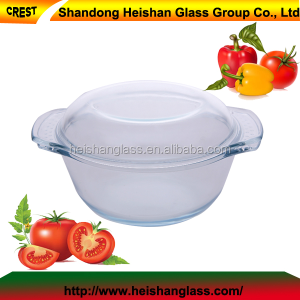 UAE 1.0L round 400 degree resistant Heishan borosilicate china glass thermoware casserole