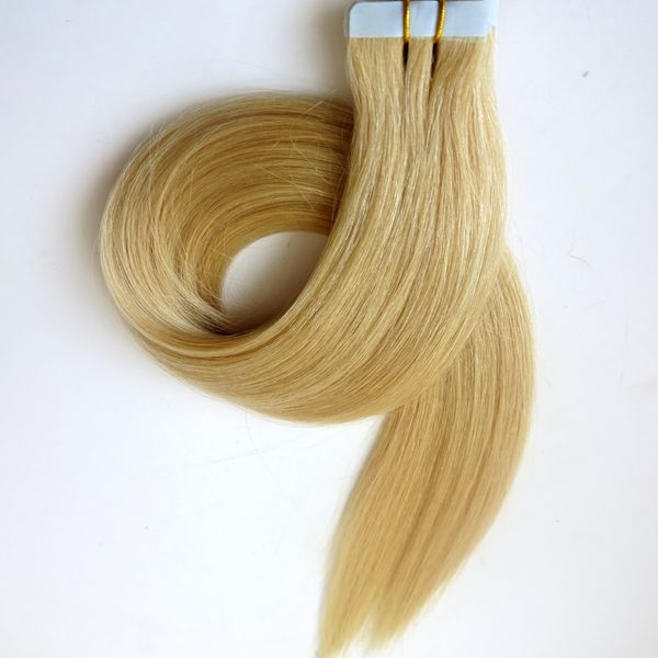 Glue Skin Weft Tape in Hair Extensions 18 20 22 24inch #60/Platinum Blonde Brazilian Indian human hair extensions