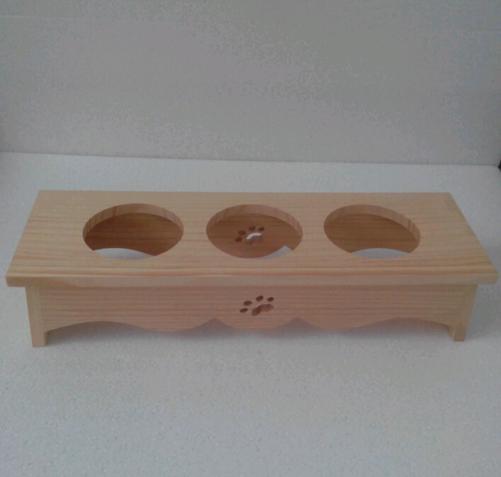 pine Wood Primitive 3 hole Solid Wood Dog Bowl Stand
