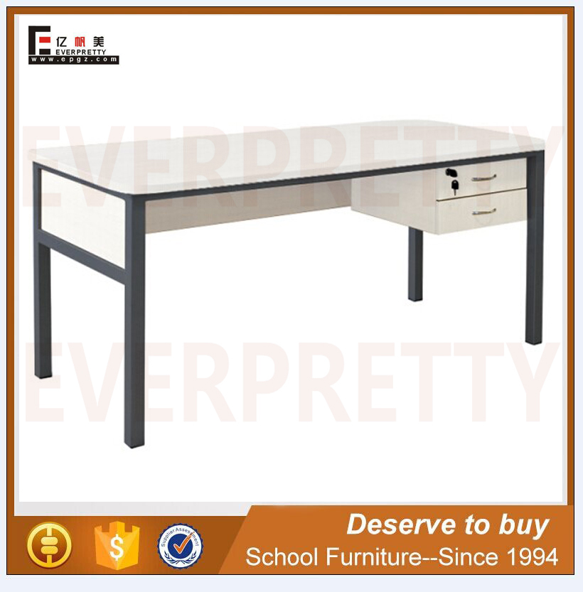 Strong Metal Frame Wooden Table Top Teacher Desk For Classroom
