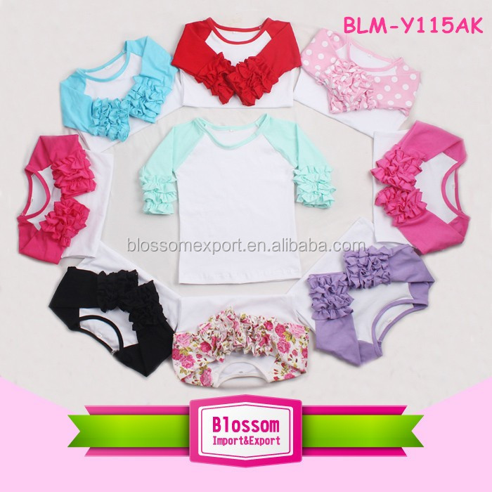 Knit Cotton Baby Girl Raglan T Shirt Red With White Star Icing Ruffle Raglan Wholesale Best-Selling In USA Market