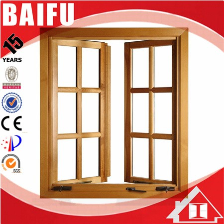 BaiFu Foldable Crank Handle American Style Casement Window with Aluminum Wooden Window Frames Designs