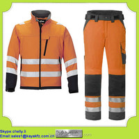 2 piece orange reflective high visibility coverall for oil and gas