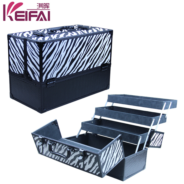 Aluminum Discount Fancy Zebra Printed Cosmetic Case With 3 Trays