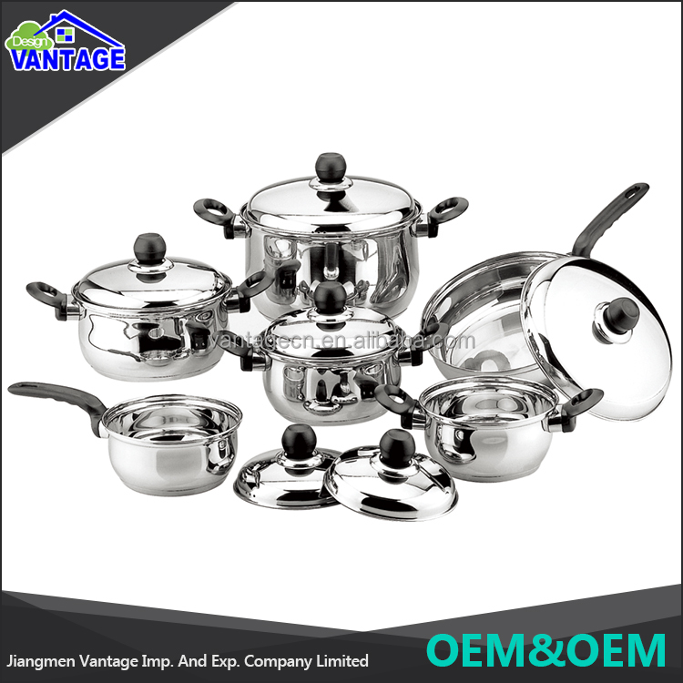 High quality non-stick cooking pot 12 pcs stainless steel cookware set