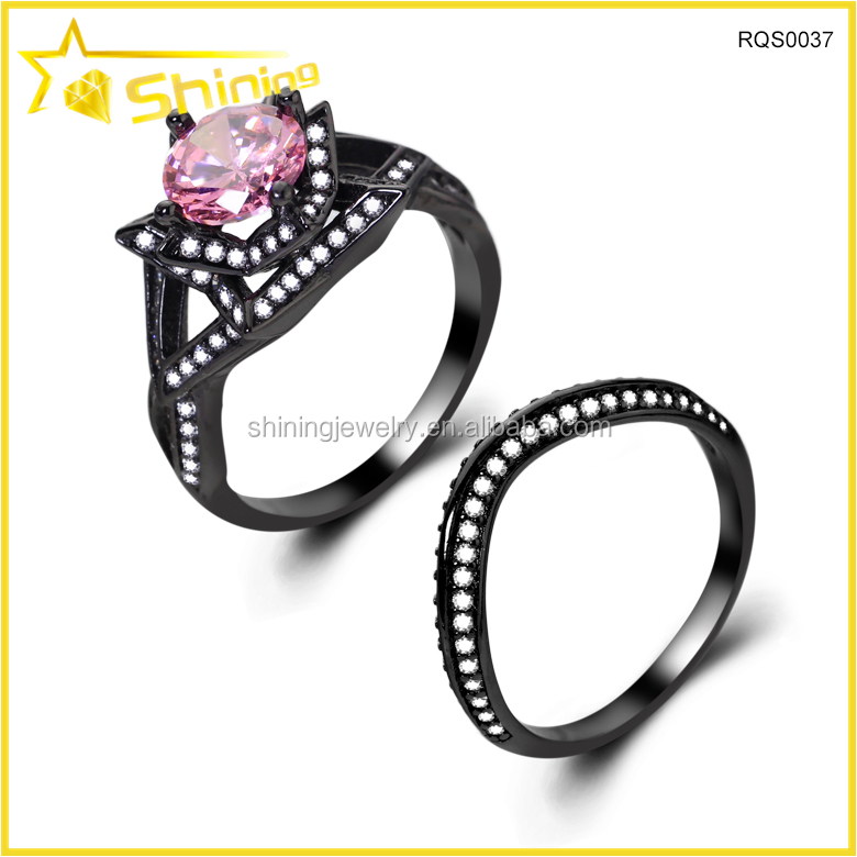 Black Sterling Silver White Cubic Zirconia His and Hers Wedding Ring Sets