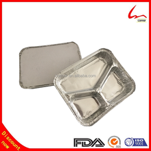 Rice Cooked Rectangular 3 Compartments Aluminum Foil Food Storage Tray
