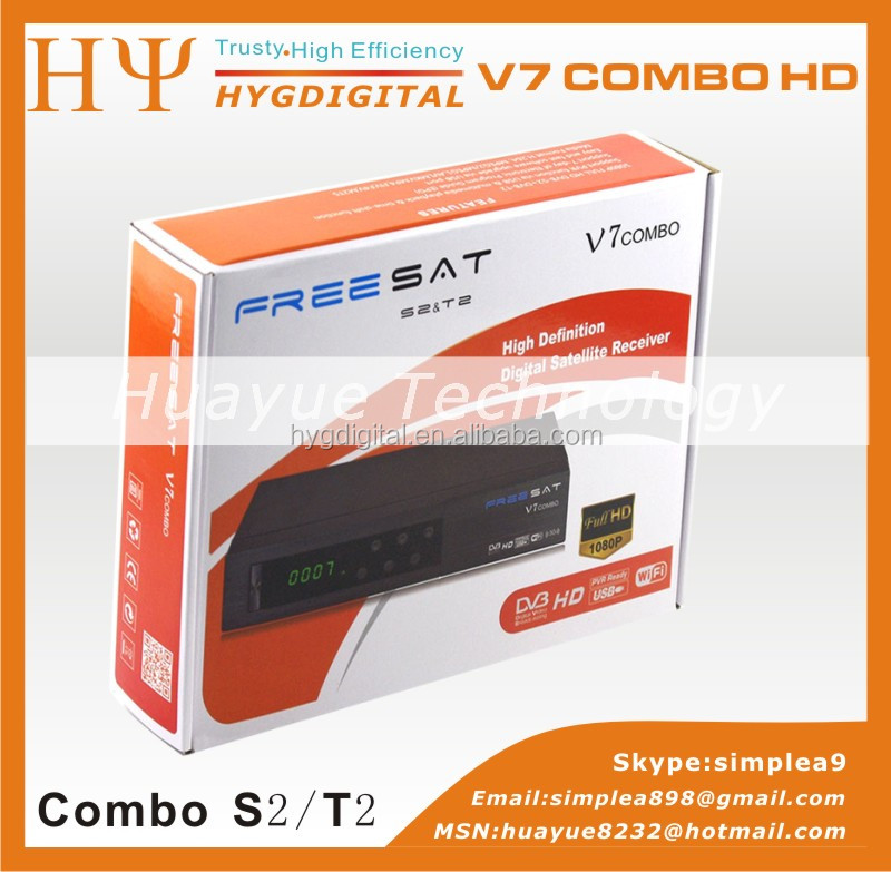 Freesat Digital Satellite Receiver V7 Combo DVB-S2+T2 Set top box Support Powervu. YouTube, Youporn Cccam, Newcam