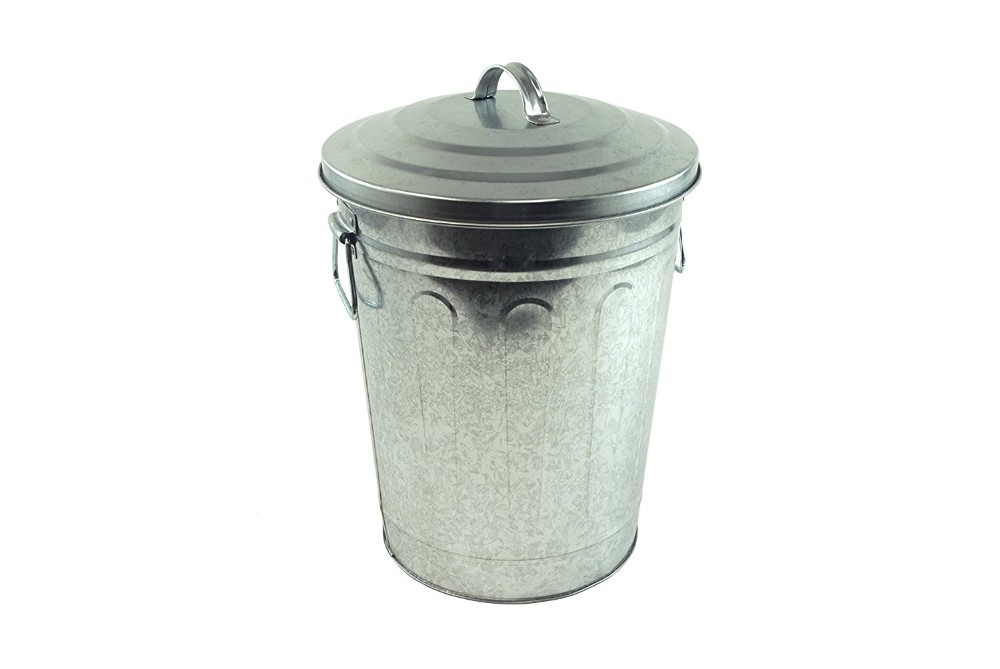 Nature Galvanized Metal Trash Can