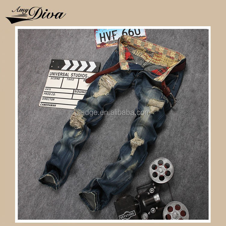 New model ripped denim jeans pants high quality casual fashion man jeans trousers