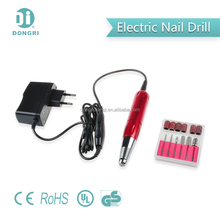 Dongri DR-206 10W Portable Electric Nail File For Acrylics, Gels Callus remover With 6 Drill Bits, Red