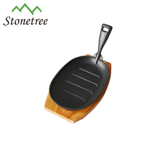 Sizzler Plate Cast Iron Sizzle Platter With Wooden Serving Board