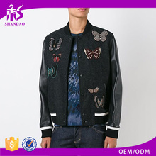 Russia Design Embroidered Butterflies breathable waterproof Army Leather 100% cashmere coats for men