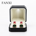 FANXI China Supplier Stylish Black PU Leather Gift Boxes For Jewelry Display Custom Earring Box With Led