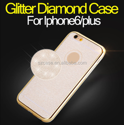 Glitter diamond Case for iphone6 tpu plating phone case for iphone6 plus case