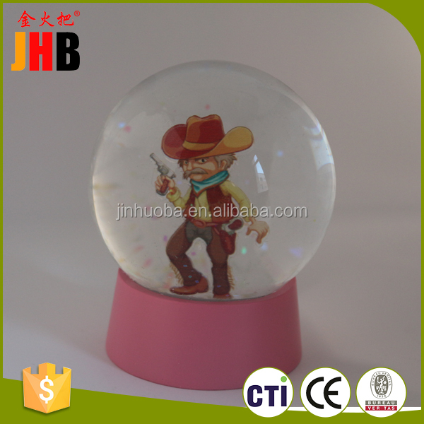 Cheap With a gun cowboy old man snow globe crafts custom snow snow globe gifts