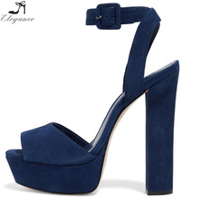 Graceful Classic Ankle Cross Straps Blue Square Peep Toe Suede Shoes Block High Heeled Platform Sandals Ladies Large Size Women