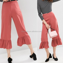 Wholesale fashion top quality new occasion Trousers with Frill Hem ladies capri trousers latest cutting of ladies trousers