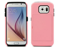 Top quality PC+Silicon Case for Samsung galaxy S6 with stand&card slot