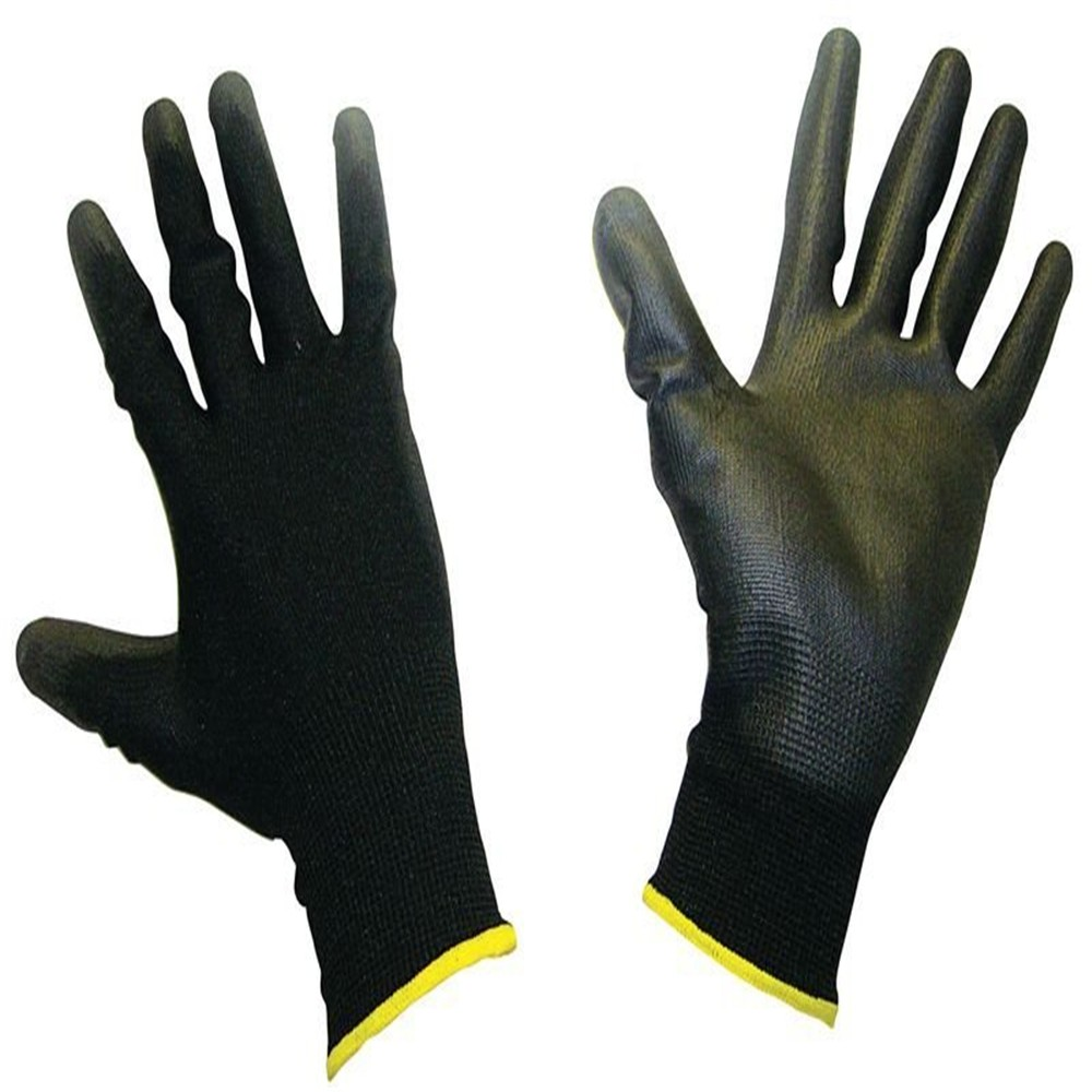 MHR 13G black knitted liner coated thin PU on palm working gloves