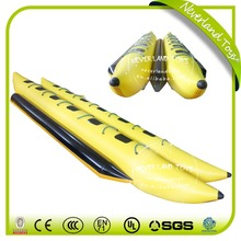 NECERLAND TOYS Inflatable Banana Boat Double Floating Water Tubes 12 Seats Yellow Boat