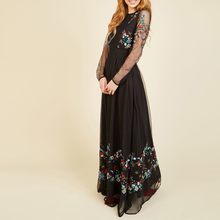 Romantic Long embroidered Party Wear Long Party Net Dresses For Pregnant Women
