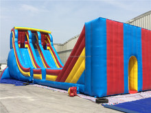 70' L Amazon Inflatable Zipline Slide, Crazy Inflatable Slide with Zip Line for Adults