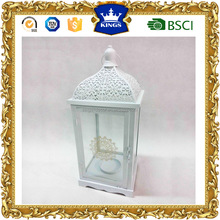 Excellent quality white top hanging wood lantern with flower printing on glass