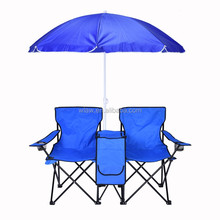 camping double folding chairs with umbrella and cooler