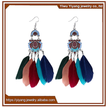 Colorful Gold Resin Alloy Feather Earring Stud Earrings for Party Sandbeach